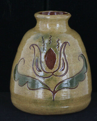 Vintage Pennsylvania Dutch Floral Redware Sgraffito Vase Signed Folk Art