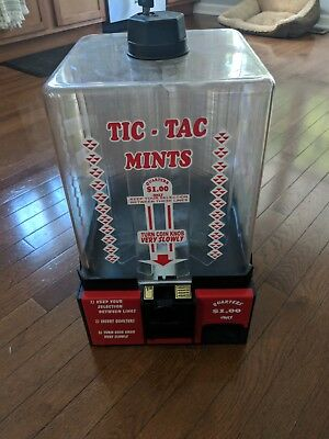 Vintage Tic-Tac Mint Vending Machine Acrylic Coin-Op Dispenser