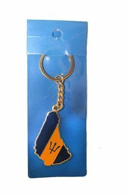 Barbados Country Shape Flag Metal Keychain .. New