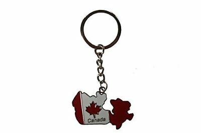 Canada Country Shape Flag Metal Keychain .. New