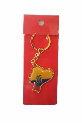 Ecuador Country Shape Flag Metal Keychain .. New