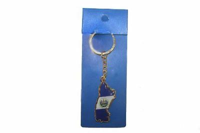 EI Salvador Country Shape Flag Metal Keychain .. New