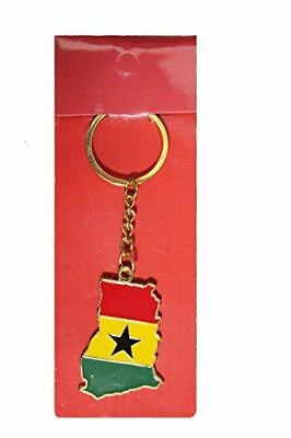 GHANA Country Shape Flag Metal Keychain .. New