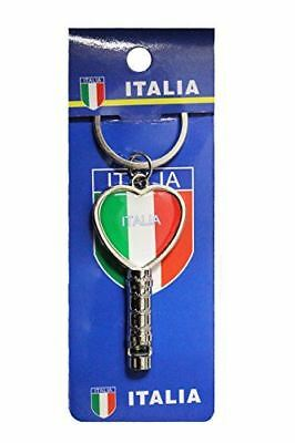 "ITALIA ITALY Country Flag HEART Shape Metal Keychain & WHISTLE..Size : 1.25"" x 2"