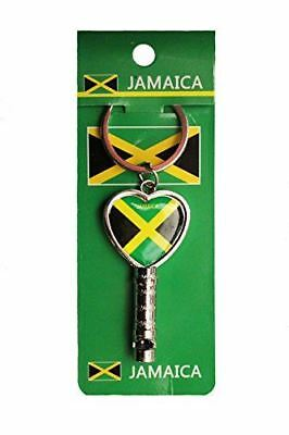 "JAMAICA Country Flag HEART Shape Metal Keychain & WHISTLE..Size : 1.25"" x 2.5"" I"