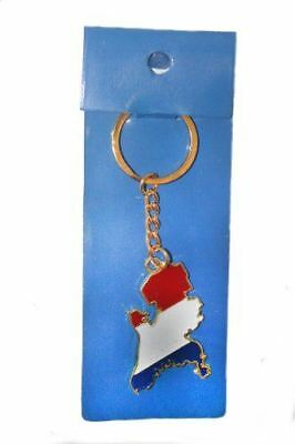 Netherlands Holland Country Shape Flag Metal Keychain .. New