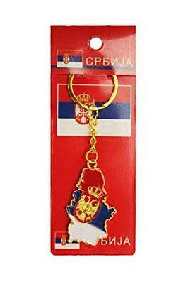 Serbia Country Shape Flag Metal Keychain New