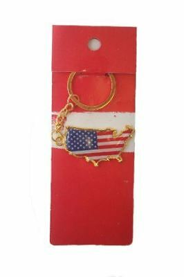 USA Country Shape Flag Metal Keychain .. New