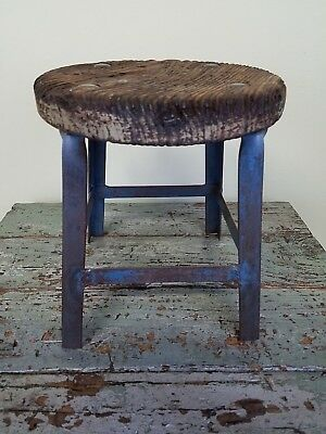 "Small 12"" Industrial Factory Stool with Weathered Oak Seat"