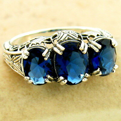 Art Deco 3 Stone 925 Sterling Silver Royal Blue Sim Sapphire Ring Size 8,  #1169