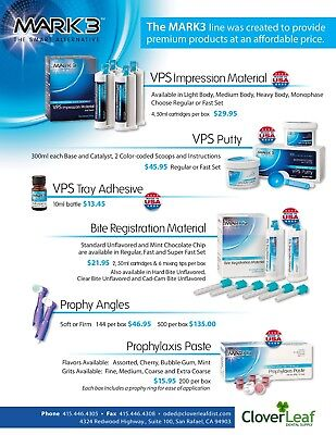 Mark3 Dental- Vps  Material, Putty, Adhesive,Bite Reg,Prophy Angles,Prophy Paste