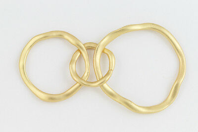Matte Gold Hammered 3 Linked Rings Connector #MFA244