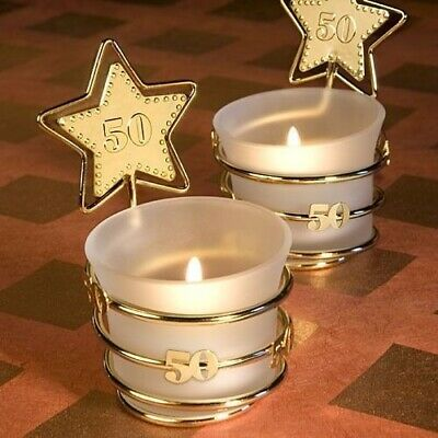 20 Gold Star Design 50th Anniversary Candle Favors 50th Birthday Candle Holders