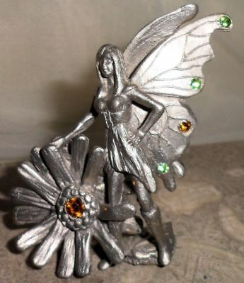 Vintage Miniature Pewter Bejeweled Warrior Fairy Butterfly Wings Topaz Heart