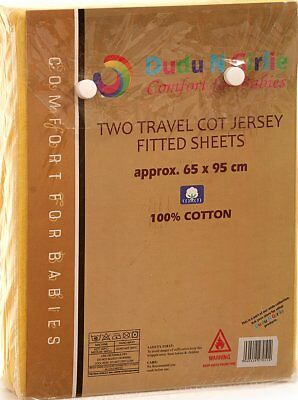 Dudu N Girlie Jersey Cotton Travel Cot Fitted Sheets, 65 cm x 95 cm, 2-Piece, Wh