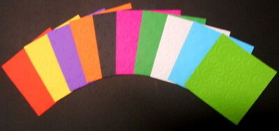 EMBOSSED PAPER  PACK - 10 COLOURS  ~ 10cm x 10cm  SCRAPBOOKING/CARDS