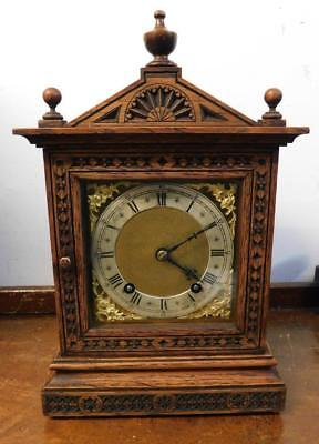 carved oak w& h striking bracket clock c1900s
