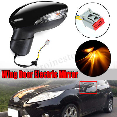 For Ford Fiesta Mk7 2008-2012 Electric Wing Door Mirror LH Left Painted Black