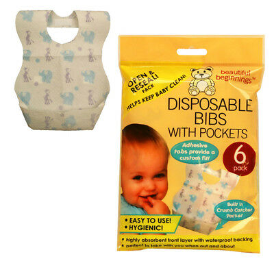 Baby Toddler Disposable Bibs bib with pocket Hygenic Easy to use Travel Holidays