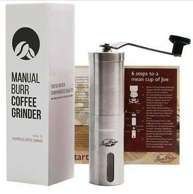 Manual Coffee Grinder JavaPresse Conical Burr Mill Brushed Stainless Steel Hand