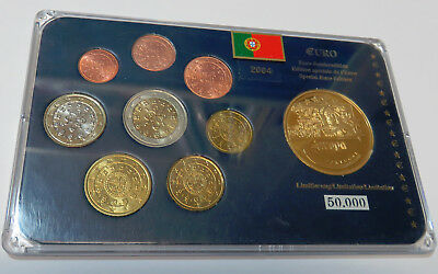 Kms Coinset Portugal 1 Cent - 2 Euro 2004 Medaille Blister Unc.