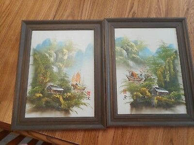 Vintage Framed Lot of 2 Paintings Signed In Chinese