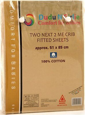 Dudu N Girlie Next2Me Cotton Jersey Fitted Sheets, 51 cm x 85 cm, 2-Piece, Cream