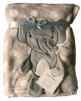 Baby Boys Girls Gorgeous White Spotted with Grey Elephant Embroidered Blanket