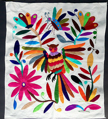 Mexican Embroidered Otomi Owl   Folk Art Mexico   Colorful Embroidery Textile