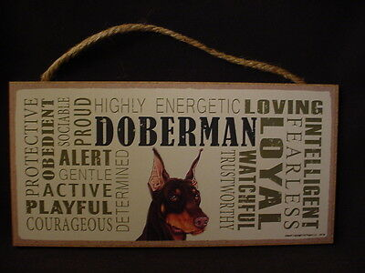 DOBERMAN Subway Style Dog SIGN wood wooden WALL PLAQUE Dobie red brown puppy NEW