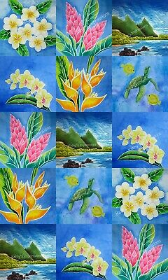NEW Tropical Flowers Fabric Quilt Square Set Ginger Plumeria Orchid Heliconia