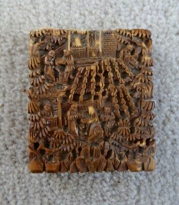 Antique Chinese Canton Carved Sandalwood Card Case