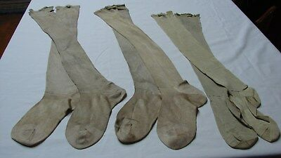 1930s Vintage LOT 3 PAIR CHILDREN'S LONG SILKY RAYON? STOCKINGS