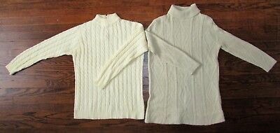 2 Vtg 70's Long Sleeve Cable Knit Moc Turtleneck Tunic White Sweater Top Shirt