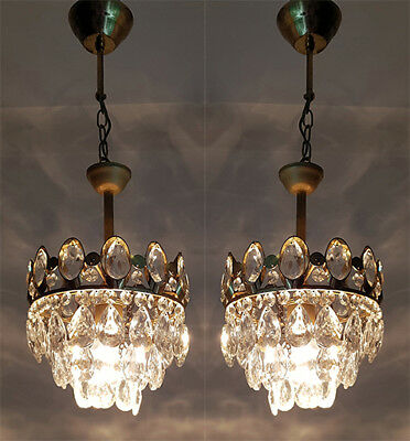 A Pair of Antique French Basket Style Brass & Crystals small Chandelier from 195