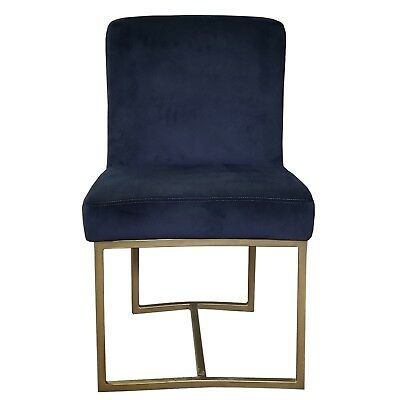 Blue Velvet Dining Chair with Rustic Bronze/Gold Frame Artefac R-1552