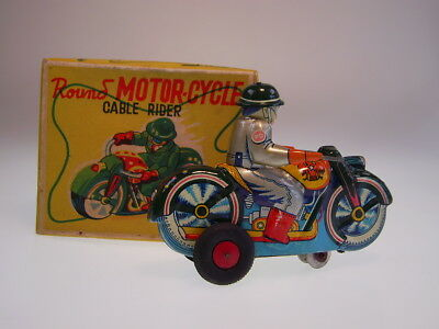 "GSMOTO ASAHI JAPAN ""MOTOR CYCLE CABLE RIDER"" 12cm,WIND UP,NEUWERTIG/NEARLY NEW !"