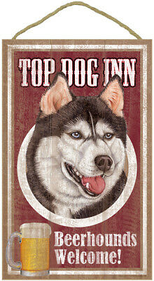 SIBERIAN HUSKY TOP DOG INN Welcome 10 x 16 BEER HOUND bar SIGN wood PLAQUE USA