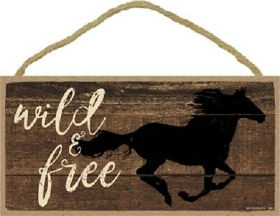 WILD & FREE Wood HORSE SIGN wall hanging PLAQUE animal USA MADE