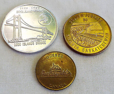 3 Canada Tokens And Commemorative Coins