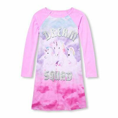 Big Girls Long Sleeve Glitter 'Dream Squad' Unicorn Nightgown, Pajama Gown