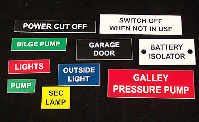 Bespoke Engraved Labels and small signs for boat, workroom, control panels etc