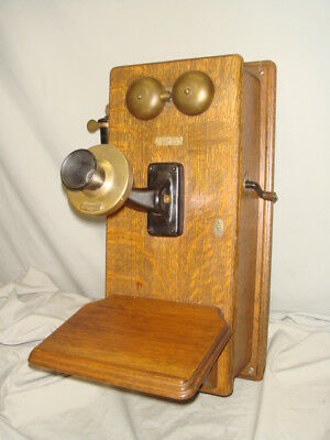 Antique Oak Wood Western Electric Wall Phone
