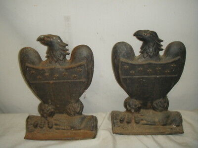 Pair Antique American Eagle & Shield Large Cast Iron Bookends