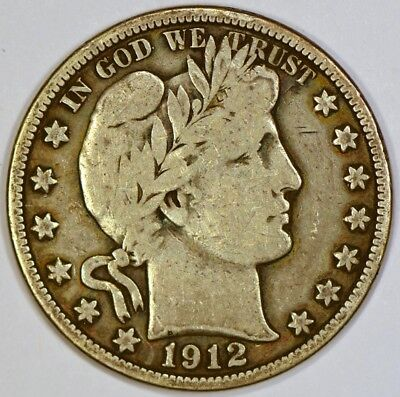 1912-P Barber Half Dollar Silver Coin With Natural Toning