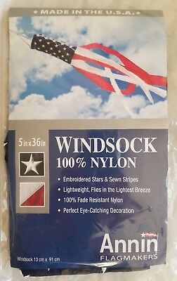 """American Flag Embroidered Stars Nylon Windsock Made in USA 36""""L"""