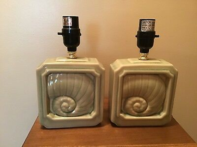 Matching Pair Of Green Shell Art Deco Table Lamps
