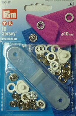 10 mm Non-Sew Press Fasteners Jersey with Pronged Ring, Pack of 10, White