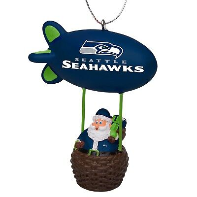 Seattle Seahawks Christmas Tree Holiday Ornament New - Team Logo Santa Blimp