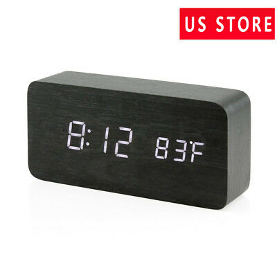 Modern Digital Alarm Clock Thermometer Time temperature LED display car USB/AAA